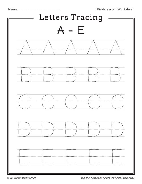Letters Tracing A-E (Uppercase)