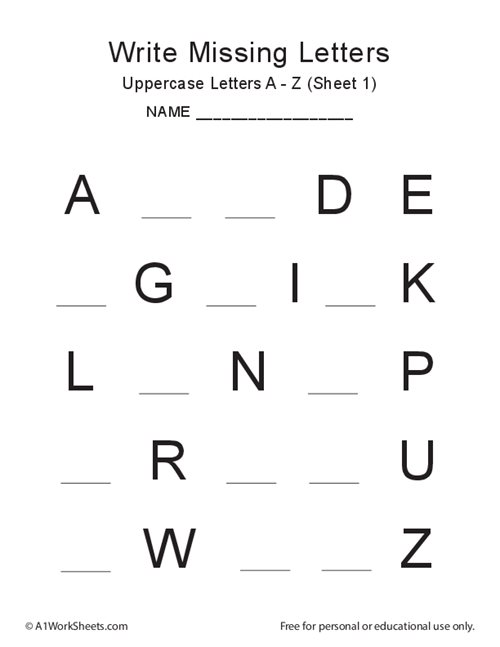 Missing Letters A-Z (uppercase)