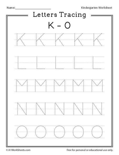 Letters Tracing K-O (Uppercase)
