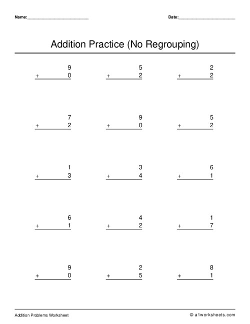 One Digit Addition (No Regrouping)