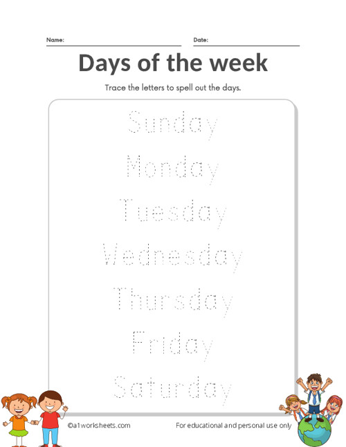 Days of the Week Practice Writing