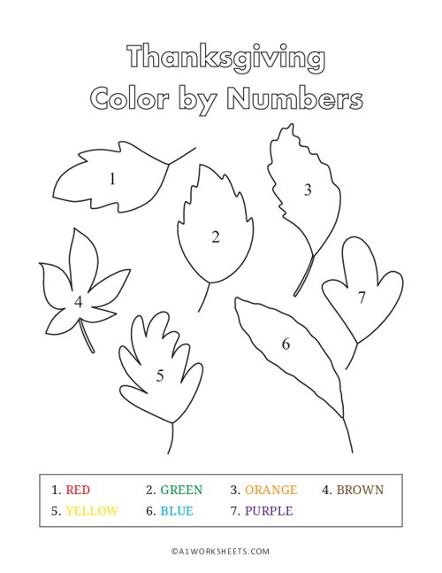 Thankgiving Color by Numbers