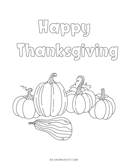 Thanksgiving Pumpkins Coloring Pages
