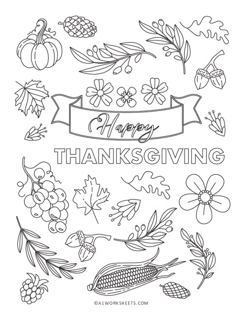 Thankgiving Leaf and Flowers Coloring Pages