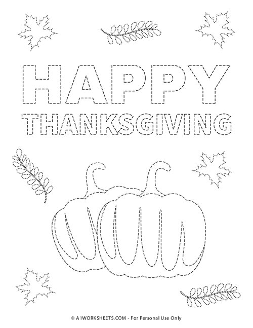 Happy Thanksgiving Tracing Pages