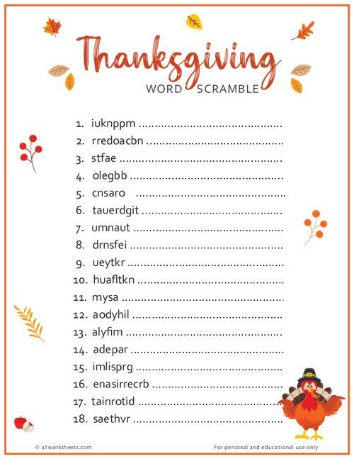 Thanksgiving Word Scramble Printable