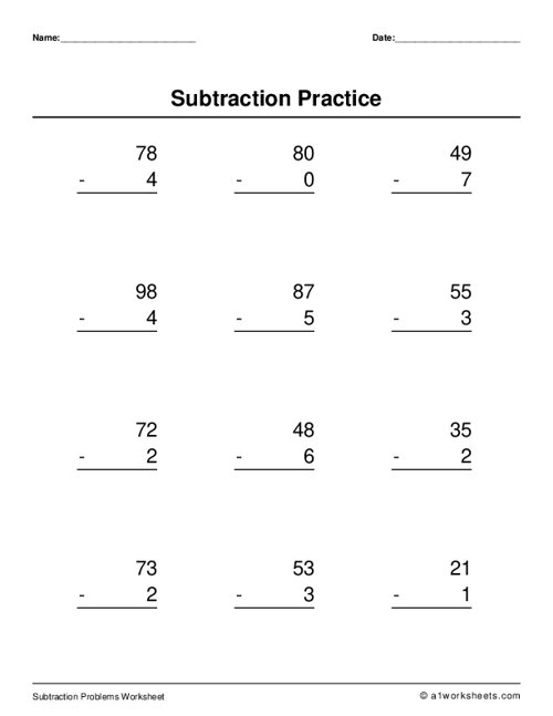 Two Digit Subtraction (No Regrouping)