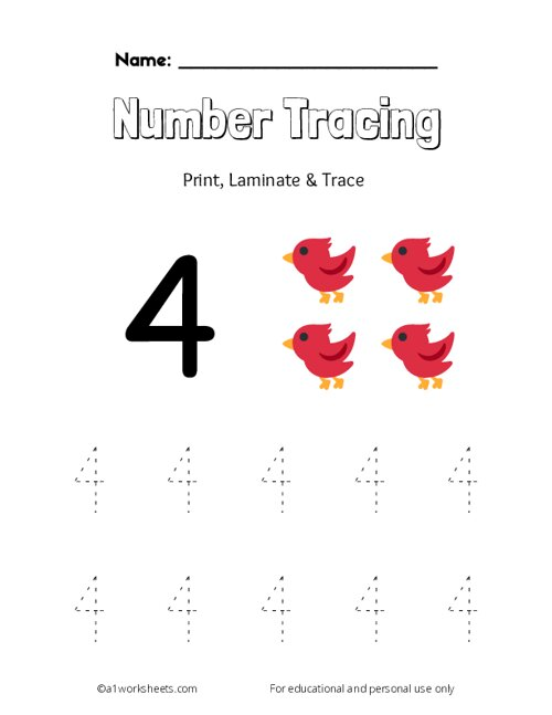 Trace the Number 4