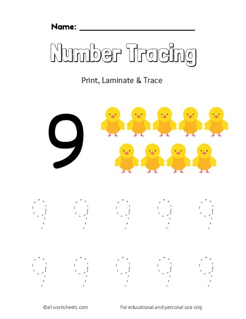Trace the Number 9