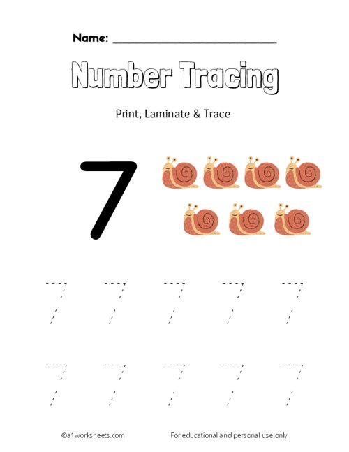 Trace the Number 7
