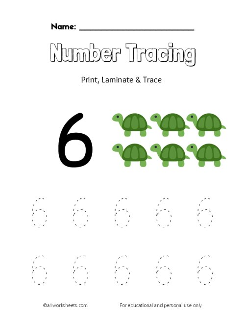 Trace the Number 6