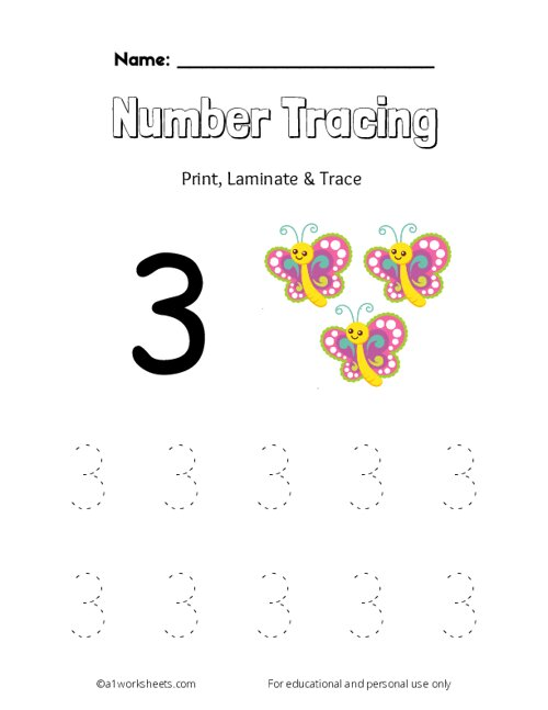 Trace the Number 3