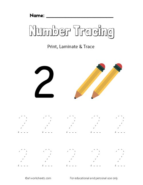 Trace the Number 2