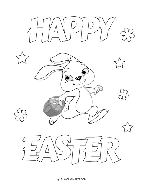 Happy Easter Bunny Coloring Page