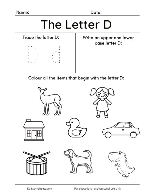 Trace the Letters D d