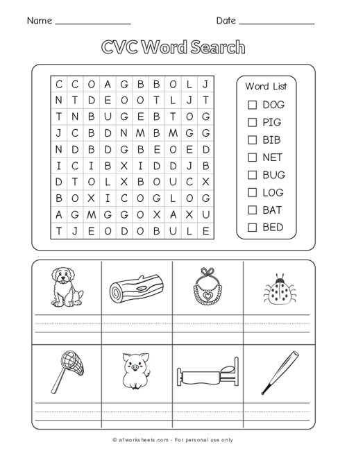 CVC Word Search and Color