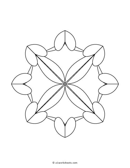 Simple Flower Mandala Pattern Coloring Page