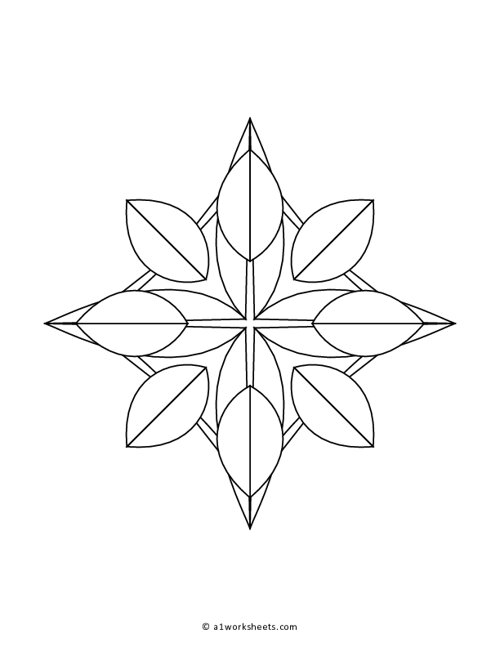 Simple Flower Mandala Pattern Coloring