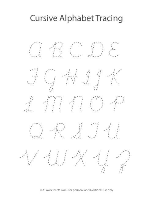 Cursive Alphabet Letters Tracing A-Z