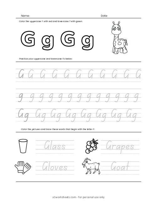 Letters Tracing G (Trace the Letter G)