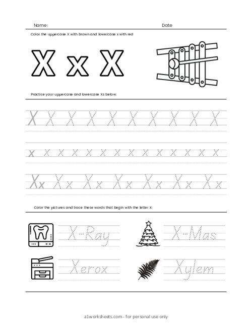 Letters Tracing X (Trace the Letter X)