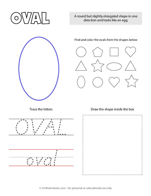 Trace and Color Shapes - Oval
