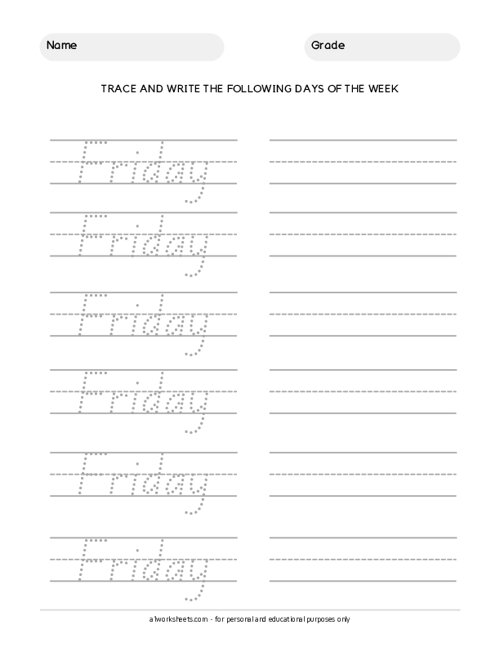 Trace the Days of the Week - Friday