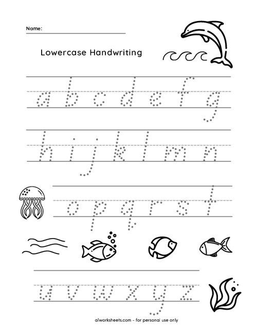 Fish Themed Lowercase Letter Tracing
